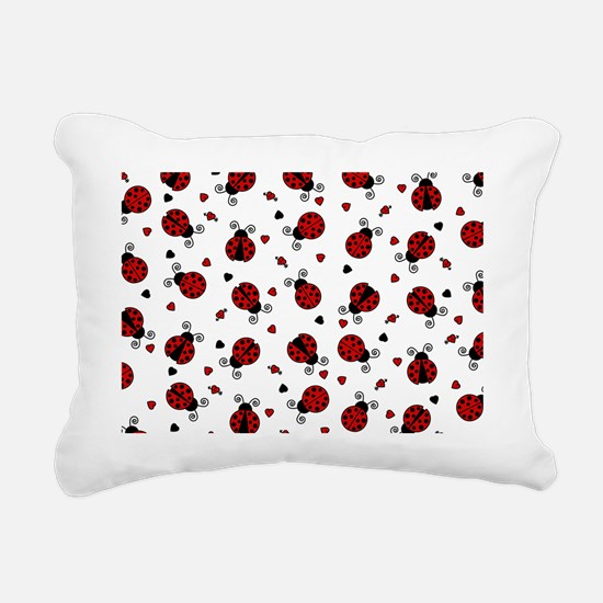 Cute Red Ladybug and Hea Rectangular Canvas Pillow