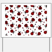 Cute Red Ladybug and Hearts Print Yard Sign
