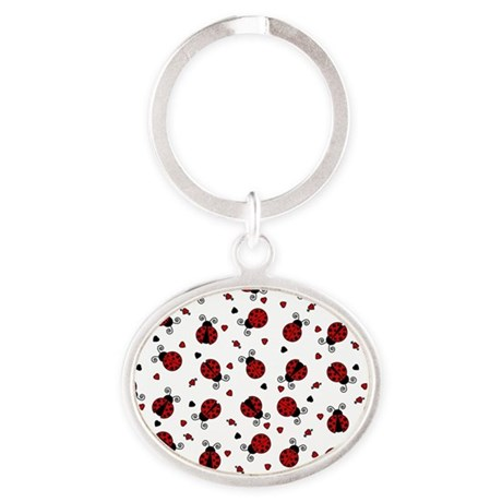 Cute Red Ladybug and Hearts Print Oval Keychain
