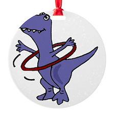 Funny T-rex Dinosaur Playing Hula H Ornament