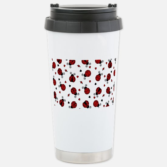 Cute Red Ladybug and He Stainless Steel Travel Mug