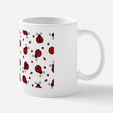 Cute Red Ladybug and Hearts Print Mug