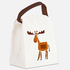 Primitive Art Moose Canvas Lunch Bag