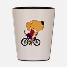 Yellow Labrador Riding Bicycle Shot Glass