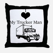 I_love_trucker Throw Pillow