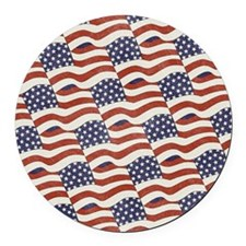 American Flag Pattern Round Car Magnet