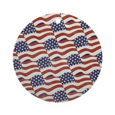 American Flag Pattern Round Ornament