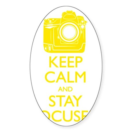 Keep Calm and Stay Focused (Yellow) Sticker (Oval)