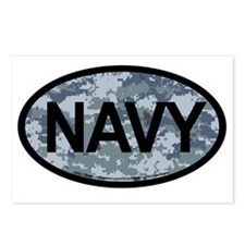 US Navy Camo Oval Sticker Postcards (Package of 8)