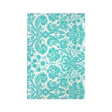aqua grey damask bg4 Rectangle Magnet
