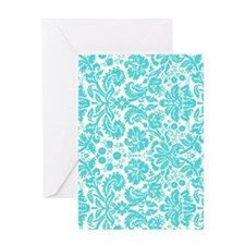aqua grey damask bg4 Greeting Card