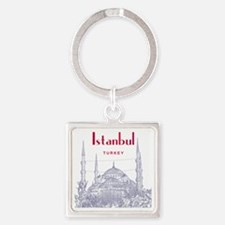 Istanbul_10x10_BlueMosque_Red Square Keychain