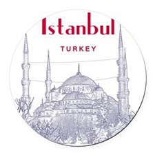 Istanbul_10x10_BlueMosque_Red Round Car Magnet