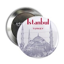 """Istanbul_10x10_BlueMosque_Red 2.25"""" Button"""