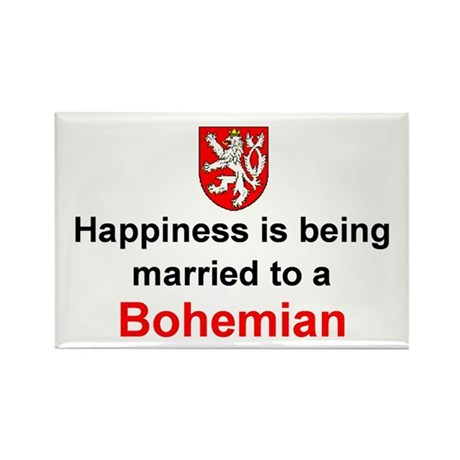 Happily Married To A Bohemian Rectangle Magnet