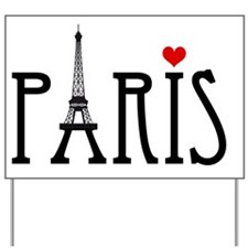 Love Paris with Eiffel tower and red hea Yard Sign
