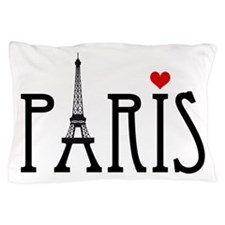 Love Paris with Eiffel tower and red h Pillow Case
