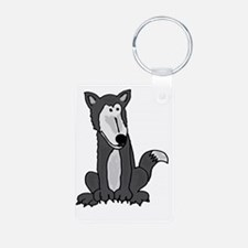 Funny Grey and White Wolf Keychains