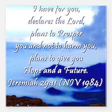 """Jeremiah 29:11 Square Car Magnet 3"""" x 3"""""""