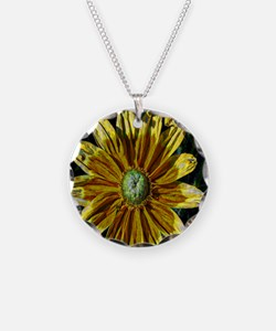 Abstract Yellow Flowers Necklace
