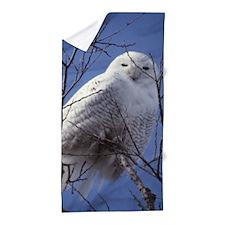 Snowy White Owl, Blue Sky Beach Towel