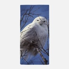 Snowy White Owl, Blue Sky Beach Towel