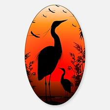 Heron Shape on Stunning Sunset Sticker (Oval)