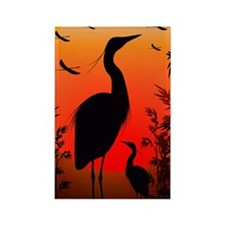 Heron Shape on Stunning Sunset Rectangle Magnet