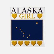 Alaska Girl Flag Throw Blanket
