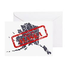 Alaska Map Made in Alaska Navy Greeting Card