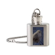 Snowy White Owl, Blue Sky Flask Necklace