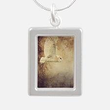Barn Owl Silver Portrait Necklace