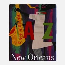 Vintage New Orleans Travel Throw Blanket