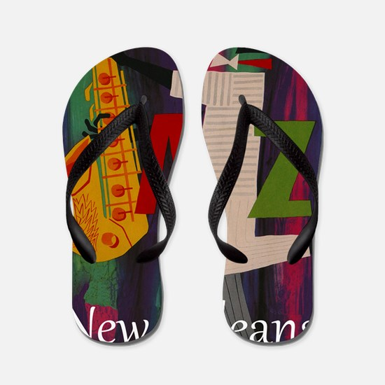 Vintage New Orleans Travel Flip Flops