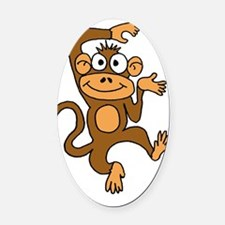 Cute Dancing Monkey Oval Car Magnet