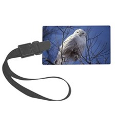 Snowy White Owl, Blue Sky Luggage Tag