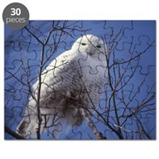 Snowy White Owl, Blue Sky Puzzle
