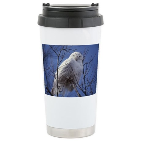 Snowy White Owl, Blue S Stainless Steel Travel Mug
