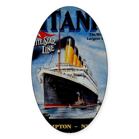 Vintage Titanic Travel Sticker (Oval)
