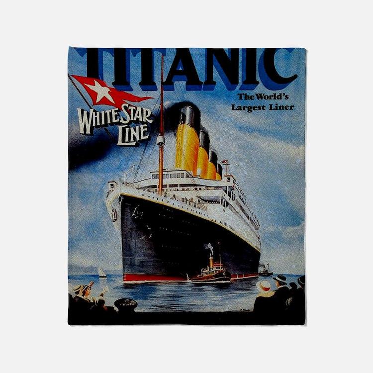 Vintage Titanic Travel Throw Blanket