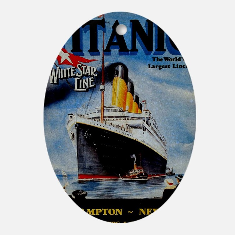 Vintage Titanic Travel Oval Ornament