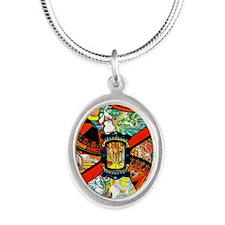 Vintage Las Vegas Travel Silver Oval Necklace