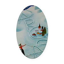 Vintage Arosa Switzerland Travel Oval Car Magnet