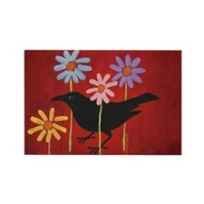Crow in the Daisies Rectangle Magnet