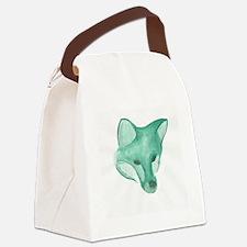Foxy Head (teal) Canvas Lunch Bag