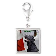 Labrador Retriever Christmas Silver Square Charm