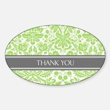 Green Grey Damask Thank You Decal