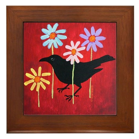 Crow in the Daisies Framed Tile