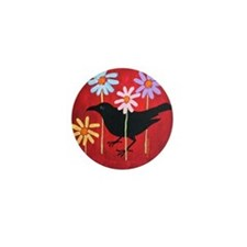 Crow in the Daisies Mini Button