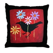 Crow in the Daisies Throw Pillow